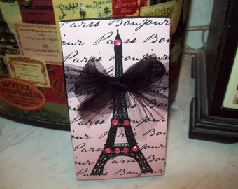 FRENCH decor pink and black EIFFEL Tower block sign PARIS decor,shabby chic,Paris bedroom decor,French bedroom,Paris wall decor