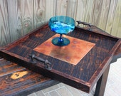 Serving Tray, Copper Centerpiece, Reclaimed Wood, Rustic Contemporary, 24 x 24, Dark Brown Finish - Handmade