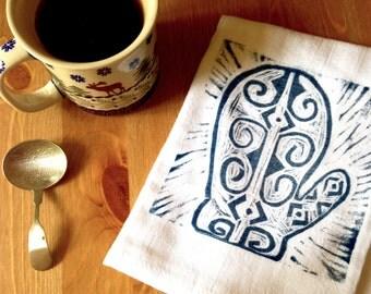 wood block print mitten tea towel by color.joy.