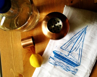 wood block print sailboat tea towel by color.joy