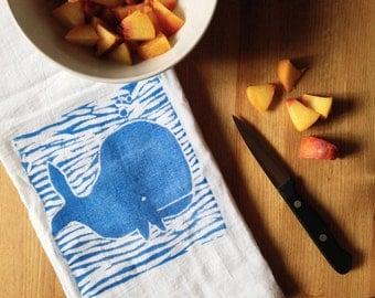 wood block print whale tea towel by color.joy