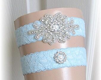 Blue Bridal Garter Set, Something Blue Wedding Garter Set, Bride Keepsake and Toss Garters, Garter Set, Stretch Lace Garters with Crystals