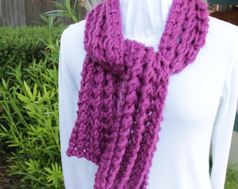 Bright Purple Scarf, Chunky Magenta Scarf. Wool Scarves, Winter Accessory for Women, Bulky Weight Knitted Wool Scarf, Gift for Her
