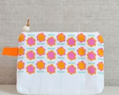 canvas zipper cosmetic pouch with flowers in pink and orange - Mother's Day gift
