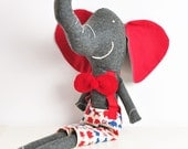 Ludovico the handmade soft toy elephant in red and blue