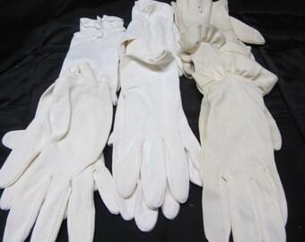 4 Pair Vintage Gloves 3 White 1 Black...Womens Retro Gloves...Dress Up Gloves...White and Black Fabric Gloves...Women Accessories...Gloves