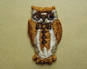 1970's owl applique patch. embroidered brown and gold tuxedo bird. deadstock.