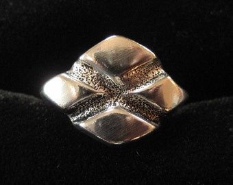 Industrial Modern Sterling Diamond Pattern Ring, Size 6