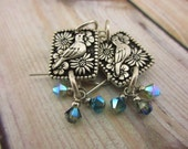 Crystal Earrings with Floral Bird Charms, Beaded Earrings, Handmade Jewelry, blue birds