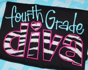 Fourth grade Diva Zebra school tshirt