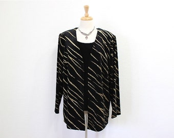 Vintage Velvet Jacket and top Twinset Black and Gold Glitter, Tiger print Tunic Long sleeves J.B.S. Ltd. Plus size 2X