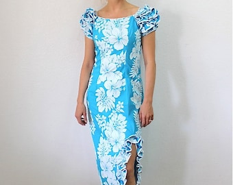 Vintage 80 Hawaiian Dress Ruffle Cotton Dress Royal Creations Blue floral Maxi Small