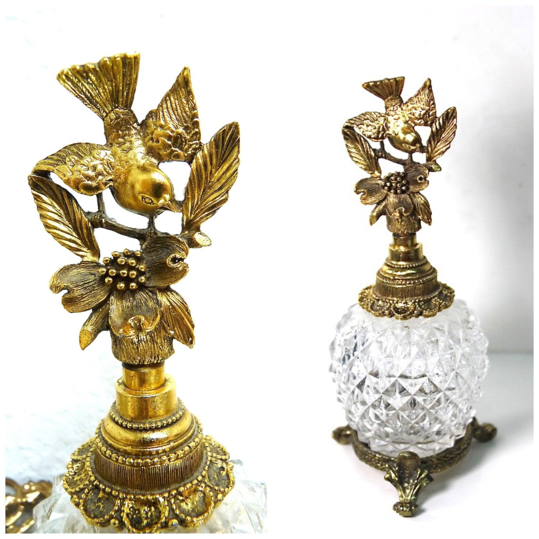 1930s Matson Perfume Bottle Gold Gilt Ormolu Bird Flower