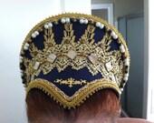 Renaissance, Tudor, Elizabethan, French Hood, Pointed Base & Jeweled Billiments - MADE TO ORDER
