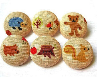 Fabric Covered Buttons - 6 Large Fabric Buttons Set - Sweet Country Life
