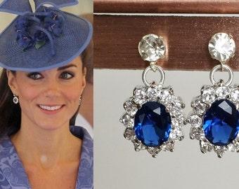 Kate Middleton Sapphire Silver Crystal Drop Earrings