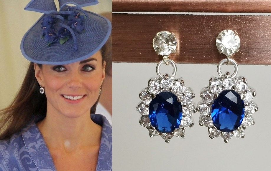 Kate Middleton Sapphire Silver Crystal Drop Earrings