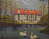 Vintage 70s Embroidery Landscape Mansion Estate Lake Swans Forest Scene Handmade Wall Folk Art Home Decor