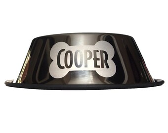 Engraved  Dog Bowl - Deep Dish for Poodle, Spaniel, long eared Dogs  - Chrome - Personalized Stainless Steel - Bone - Custom name