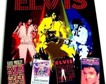 ELVIS PRESLEY Play & Display Cassette Wall Art, New Black Wood Frame, Painted Metal Backing, Jailhouse Rock, Hound Dog, Rock Around Clock