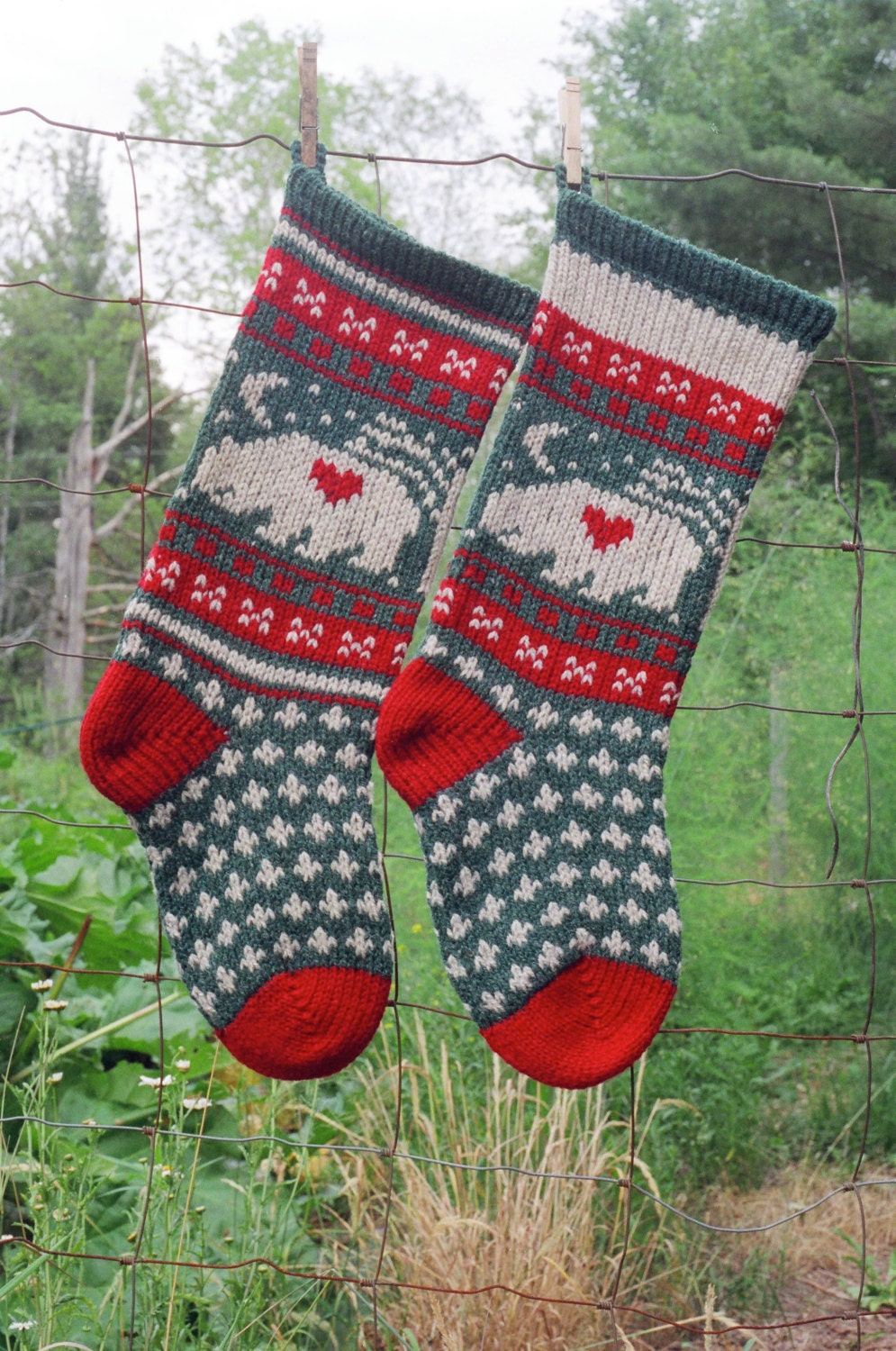 Christmas Stocking Knitting Pattern Circular Needles : Digital Christmas Stocking Knitting Pattern BEAR Stocking