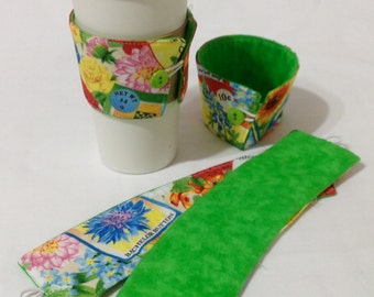 SALE *!*!*! - Bright flower Coffee Cozie - *!*!*!* 2 for 1 Mix and Match