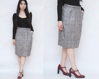 SALE Silk Blend Plaid Chevron High Waist Career Knee Length Pencil Skirt M L