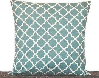 SALE 10.00 Blue Quatrefoil Pillow Cover Cream Wedgwood Moroccan Decorative Repurposed 16x16