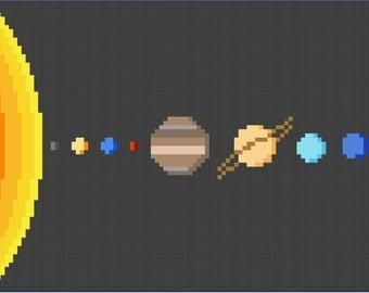 Solar System Cross Stitch Pattern