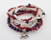 Fertility Stretchy Bracelet- Amethyst and Elephant Bracelet- Infertility Awareness Bracelet