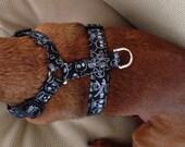 Medium Black Scull Adjustable Dog Harness