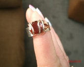 Carnelian Tear Captured in Sterling Silver Ring