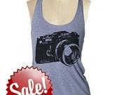 CAMERA SHIRT Tank Top womens --- American printed apparel Tri-Blend s m lg (8 Color Options) skip n whistle