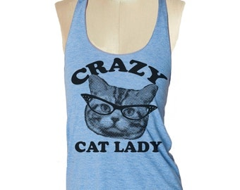 Womens CRAZY CAT LADY Tank Top --- American printed apparel Tri-Blend s m lg (6 Color Options) skip n whistle