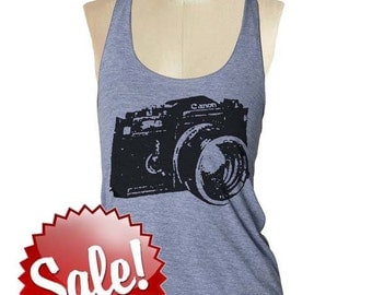 CAMERA SHIRT Tank Top womens --- American printed apparel Tri-Blend s m lg (8 Color Options) skip n whistle