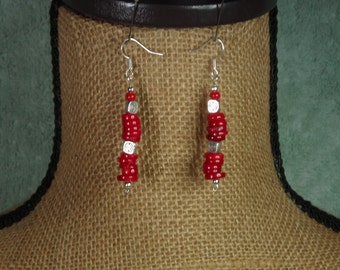 Natural Genuine Red Coral Wafers and .925 Solid Silver Earrings