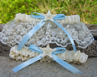 Beach Wedding Starfish Garter Set,Beach Bride,Nautical Bride,Something Blue,Beach Weddings,Destination Weddings,Mermaids,Nautical Weddings