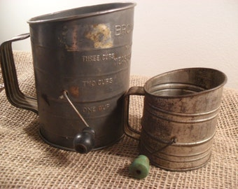 Two Rustic Vintage Flour Sifters One Child Size Green Wood Handle 1 Bromwells Country Shabby Chic Farmhouse Decor