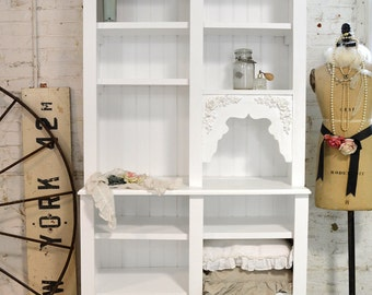 Painted Cottage Chic Shabby White Handmade Bookcase / Display Cabinet BC2000