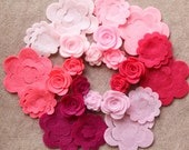 Perfectly Pink - Small & Medium 3D Rolled Roses - 24 Die Cut Felt Flowers - Unassembled Rosettes