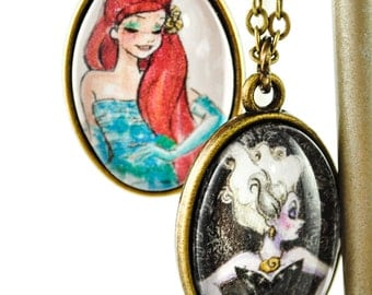Ariel and Ursula Necklace - Good vs. Evil Double Sided Necklace - Heroine vs. Villain - Princess - Little Mermaid