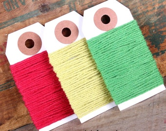 Mini Merry Christmas Bakers Twine in Red and Green, Solid Bakers Twine, Christmas Gift Wrapping String, Holiday Bakers Twine (5 yds ea)