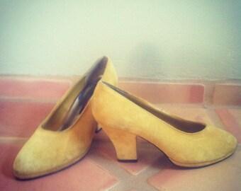 Mustard suede pumps
