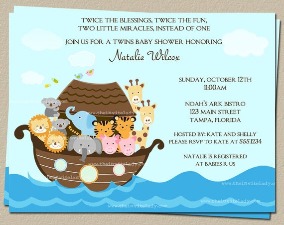 Noahs Ark Baby Shower Invitations for Twins or One Child, Set of 10