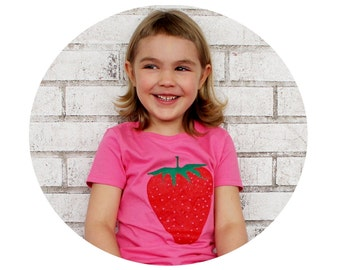 Strawberry Tshirt, Youth Girls Fitted T Shirt In Hot Pink, Sweet Fruit, Food, Spring Gardening, Fresh Produce, Cotton Crewneck, Screenprint