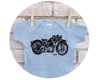 Motorcycle baby boy bodysuit, one piece snapsuit great baby shower gift, Short Sleeved, Hand Printed, Screenprinted Shirt, Pastel Light blue