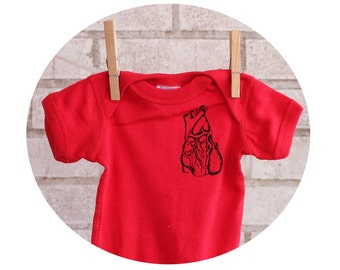 Red Anatomical Heart Baby One Piece Bodysuit, Cotton Infant Clothing, Unisex Baby Shirt, Human Anatomy, Valentines Day, Cardiology, Onepiece
