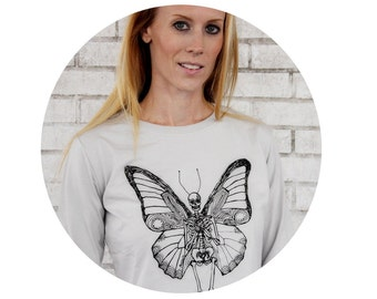 Skeleton With Butterfly Wings, Long Sleeved Women's T Shirt, Cotton Crewneck TShirt, Day of the Dead, Graphic Tee, Skull, hand printed
