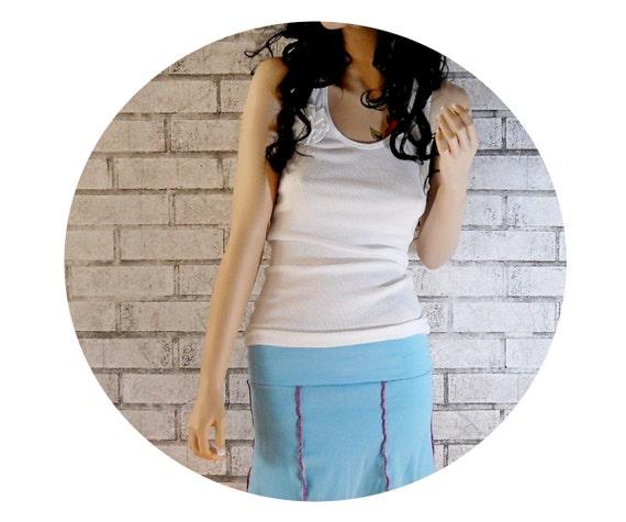 Flirty Mini Skirt, Gored Aqua Blue Skirt, Hand Sewn, Fold Over Waistband, Yoga Skirt, Roller Derby Boutfit, Summer, Spring, Swimsuit Coverup