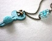 Aqua Flower and Bow Mixed Media Key Necklace : Key Jewelry / Chrysanthemum Flower Key Necklace Eco Friendly Repurposed Jewelry
